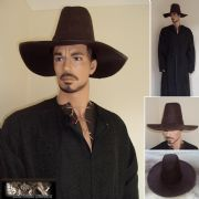 Heavy Leather Renaissance Period Wide Brim High Top Hat